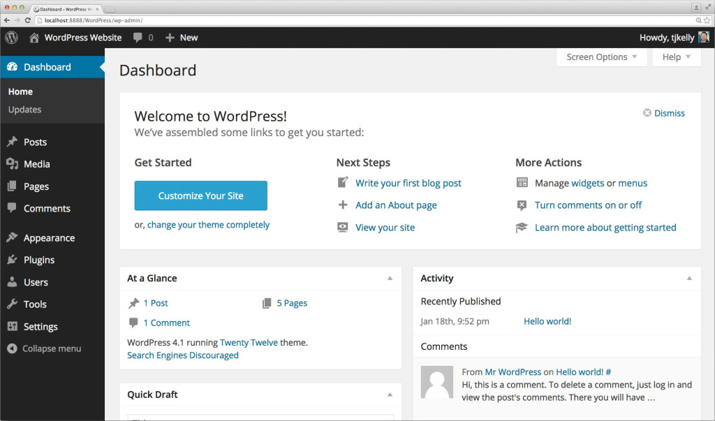 wordpress-tutorial-dashboard-welcome