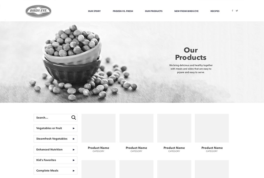 products wireframe