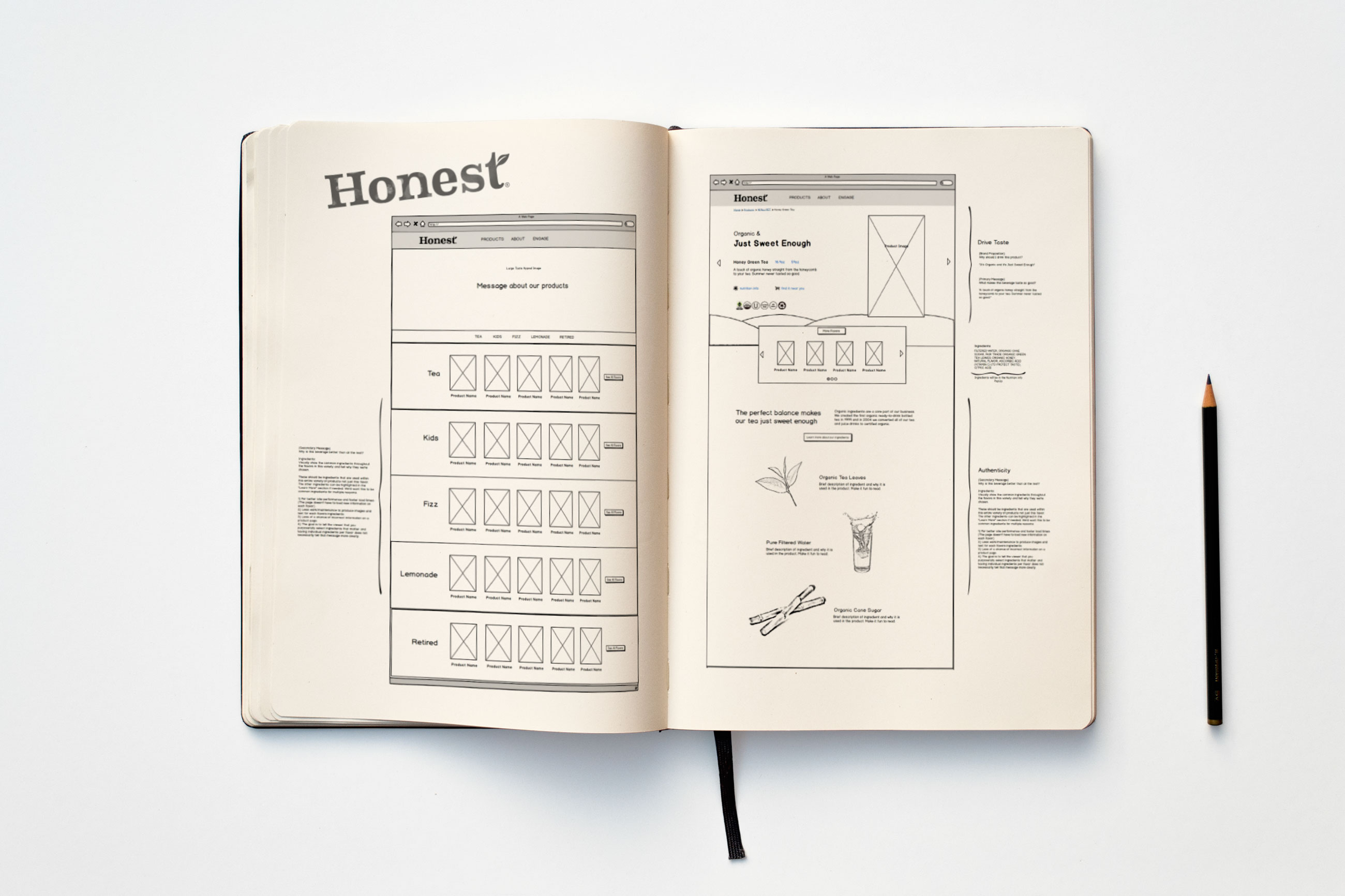 Honest Tea Sketchbook Wireframe1