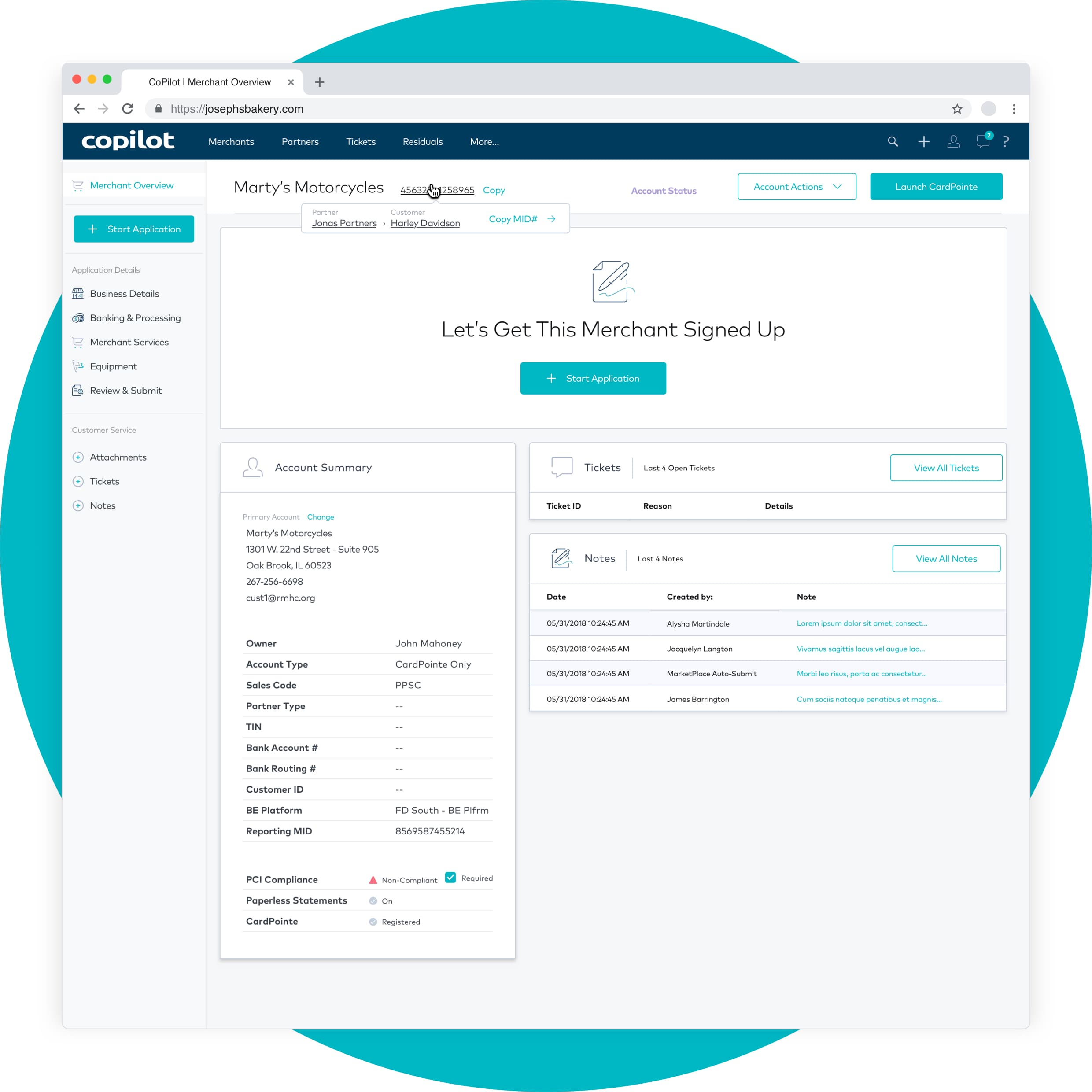 King Design CardConnect CoPilot Web App Webapp Merchant Overview Dashboard