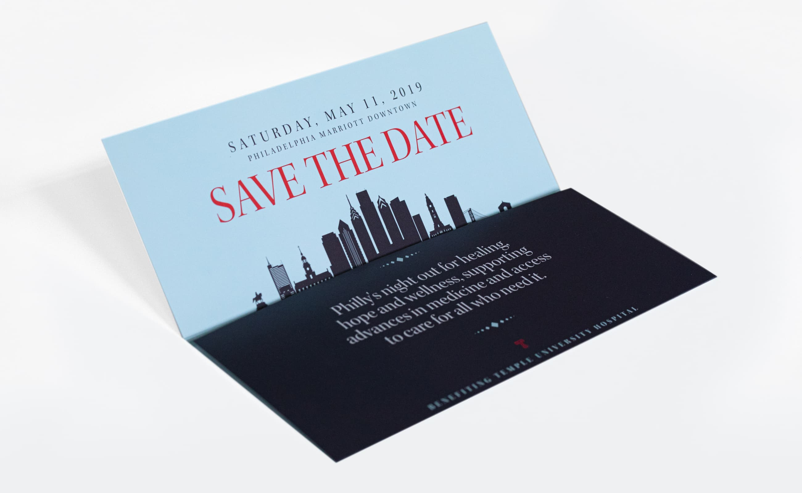 King Design Temple University 2019 Gala Save The Date Opened
