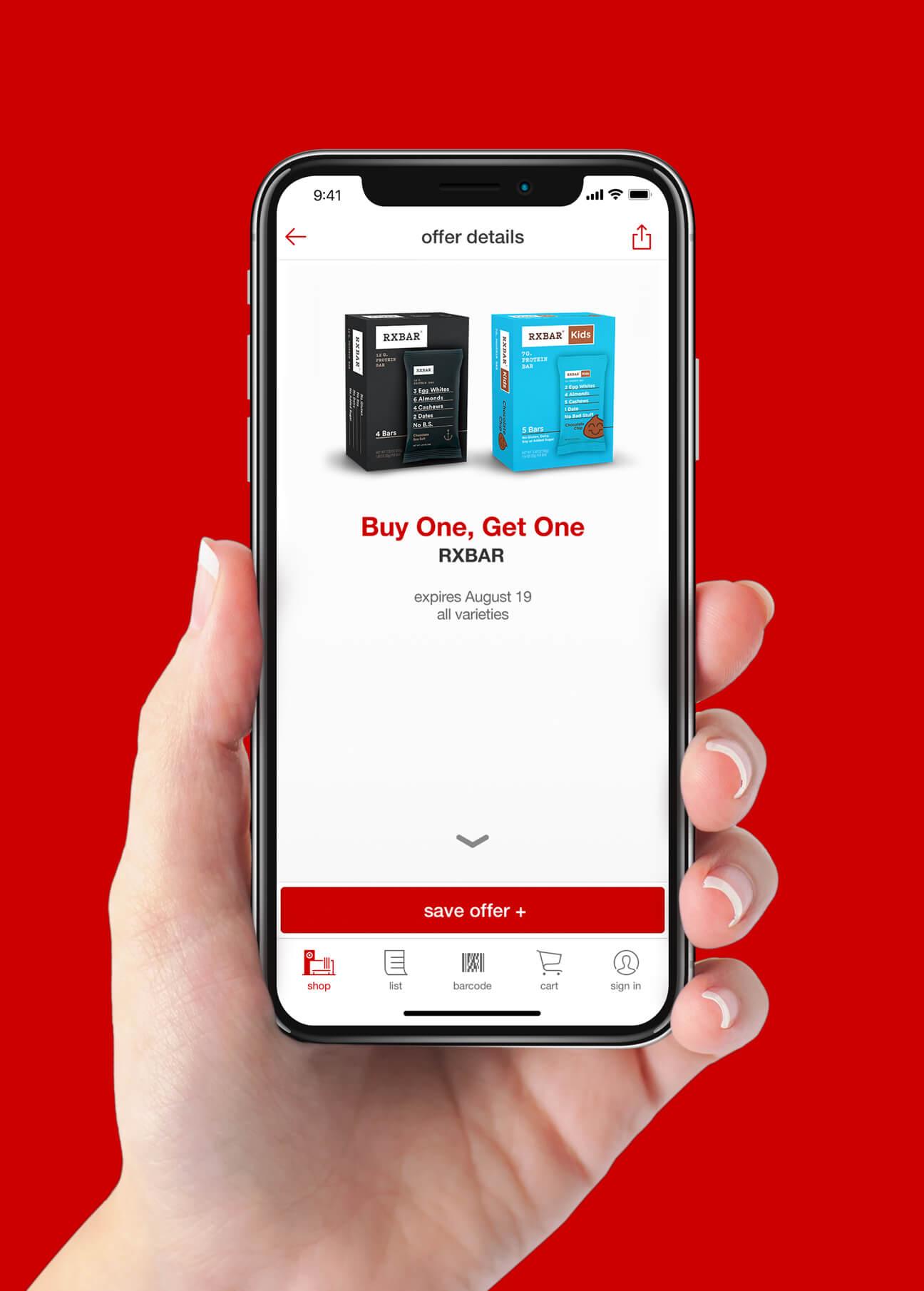 RXBAR Target Mobile Ad