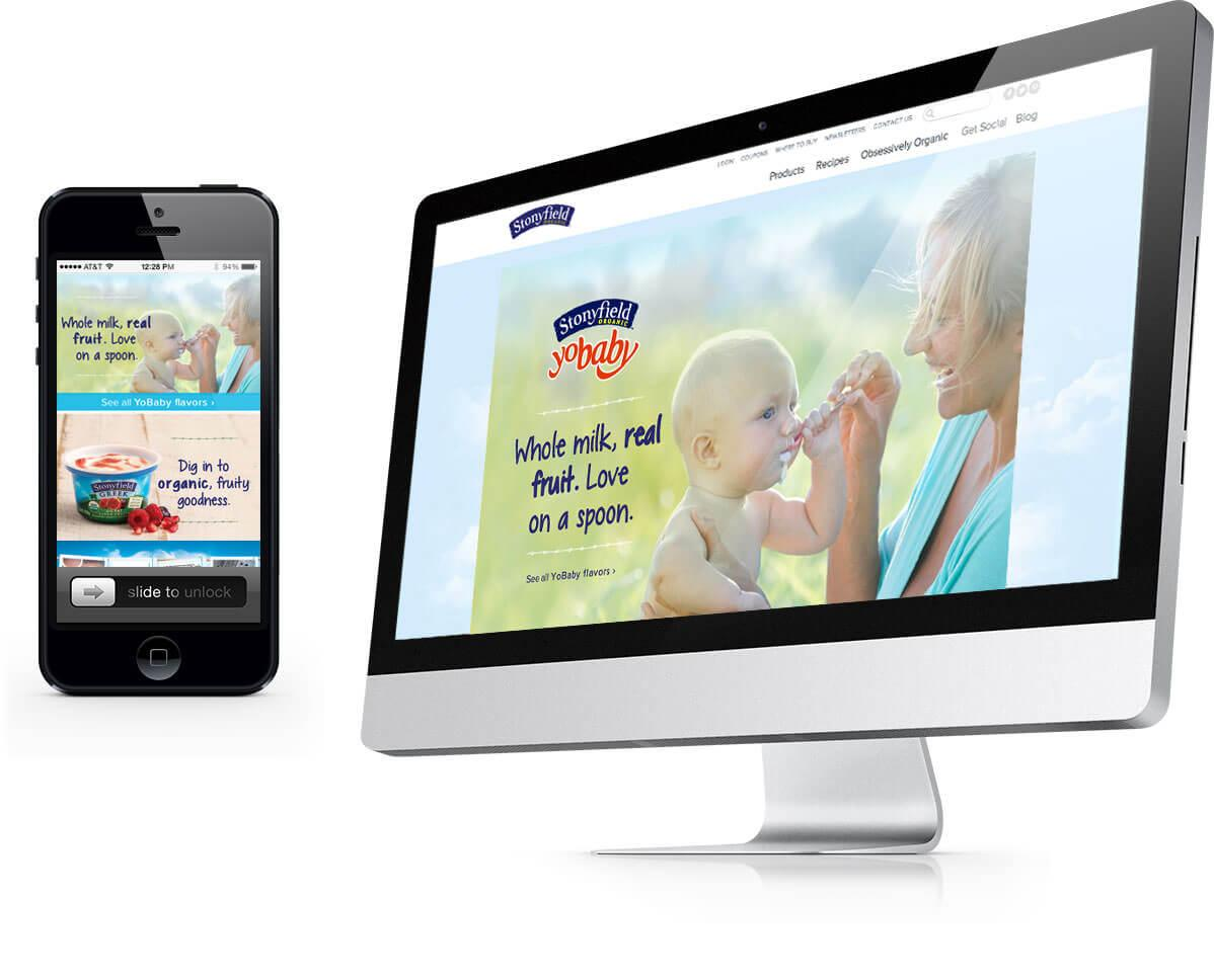 Stonyfield website displayed on an iPhone and desktop.