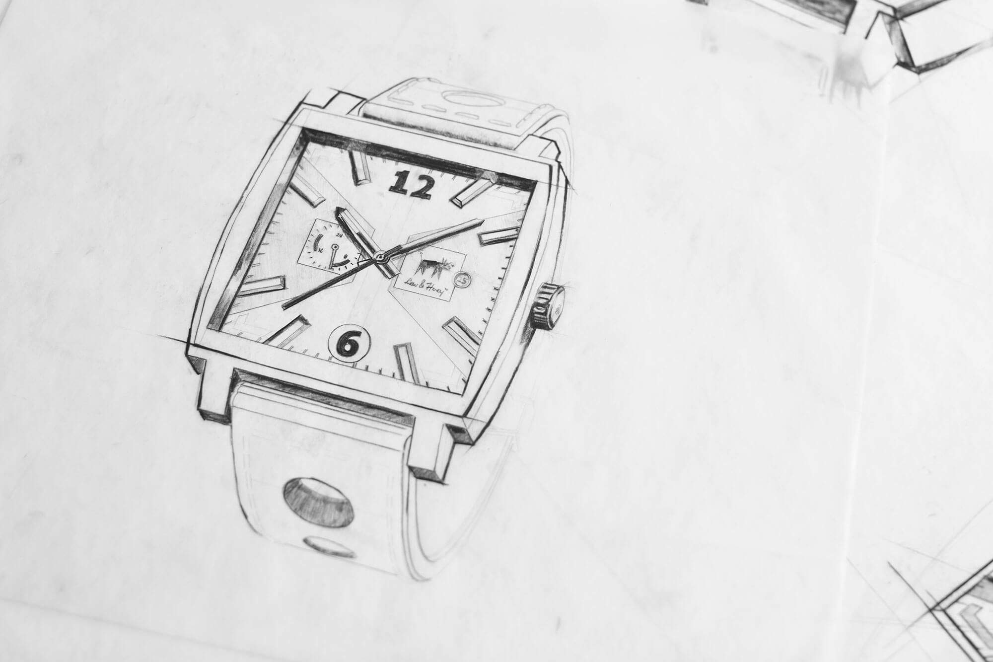 King Design Lew Huey Watch Sketch 2