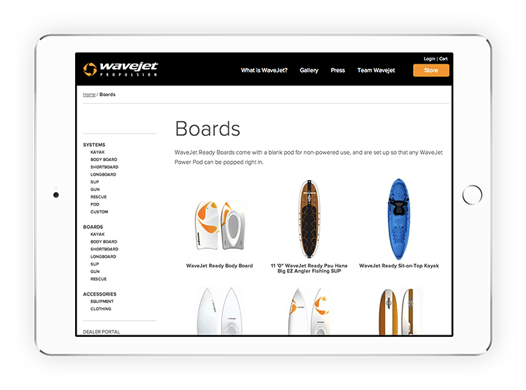 King Design Wavejet Ecommerce Store On Ipad