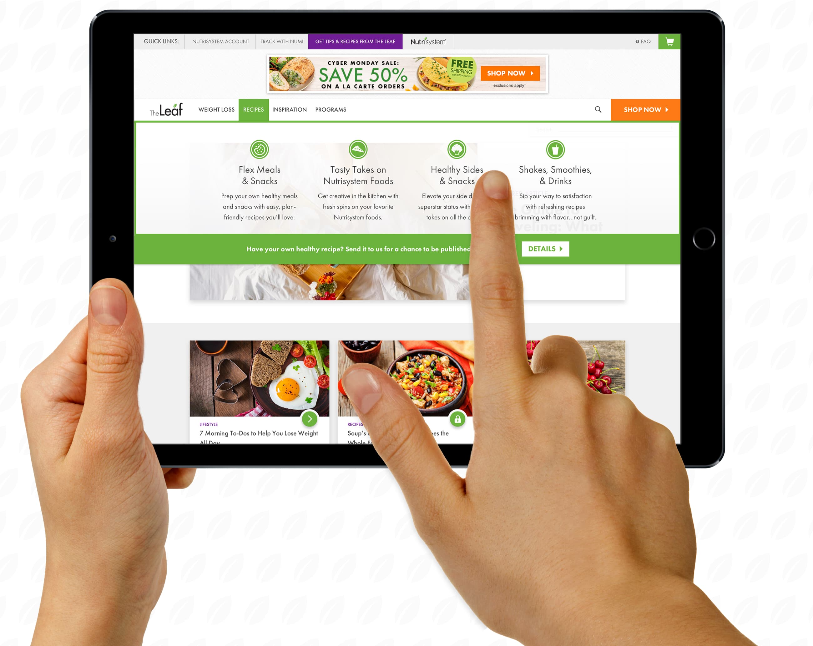 King Design The Leaf Nutrisystem Navigation Mega Menu