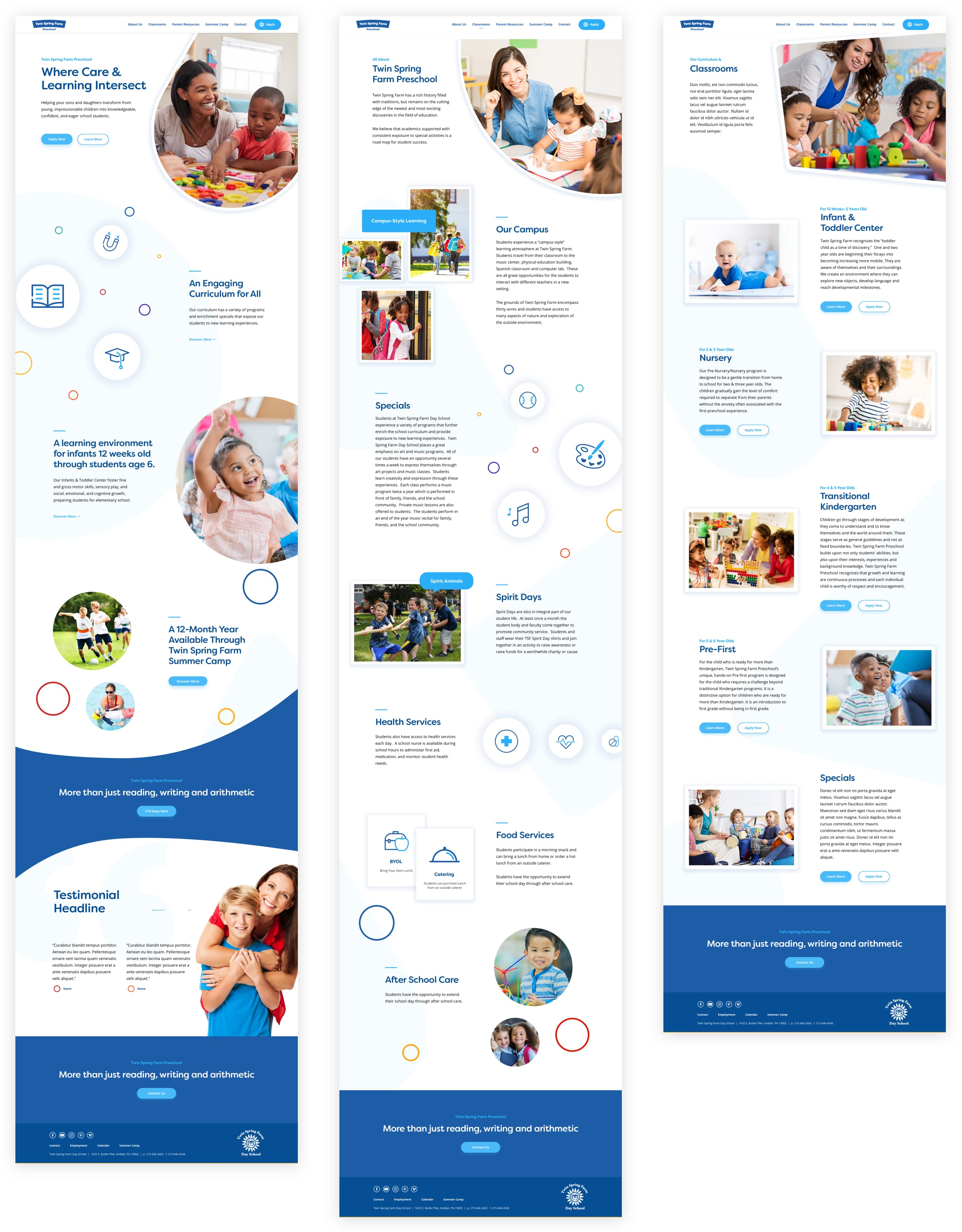 King Design Twin Spring Farm Preschool Day Summer Camp Website Design