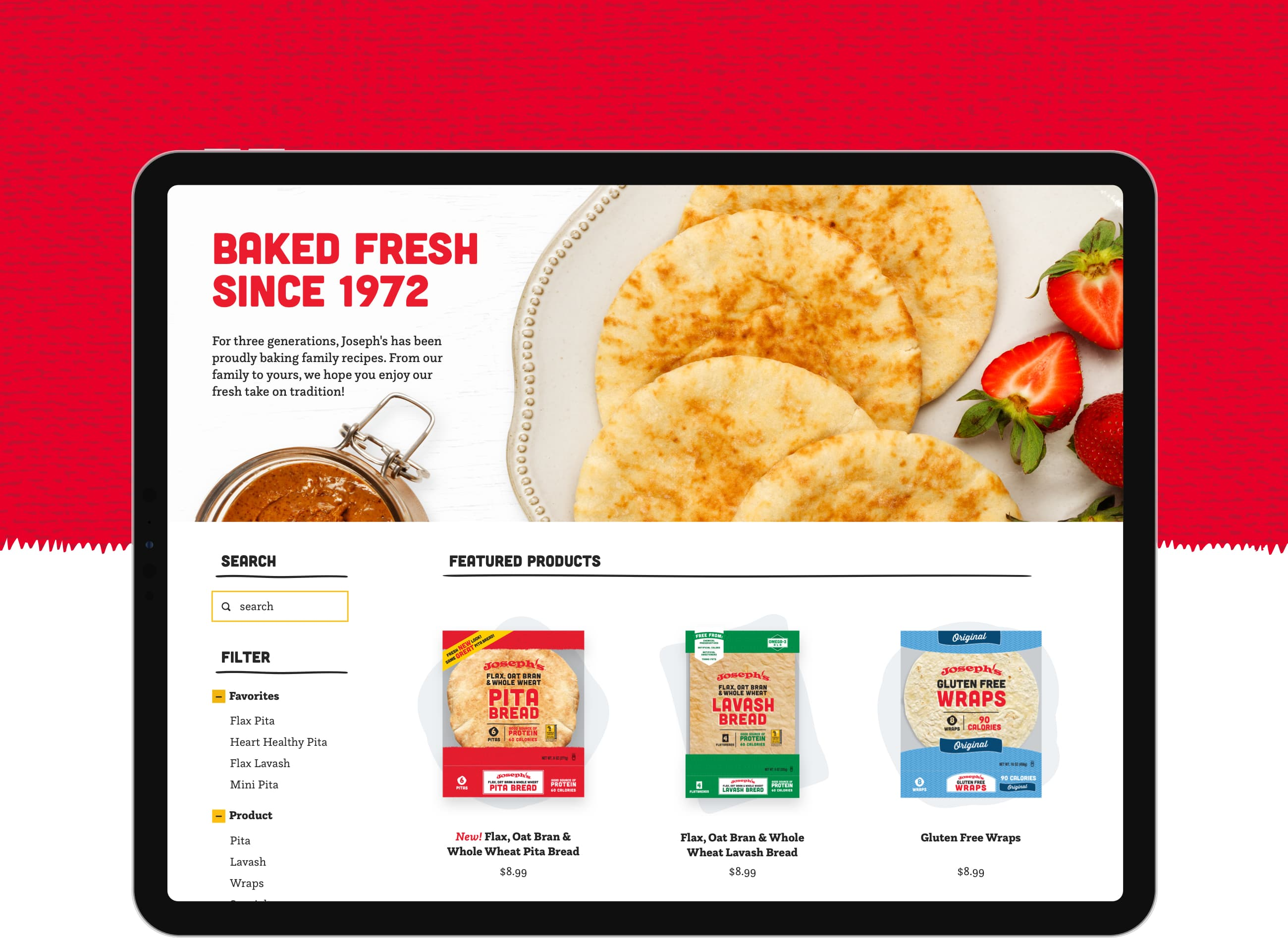 King Design Josephs Bakery Flatbread Lavash Pita Shopify ECommerce Integration